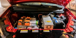 Batteries of an e-car are shown to the customers on the Expo