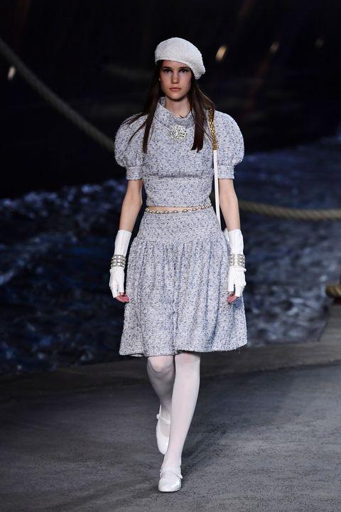 Fashion model, Fashion, Clothing, White, Fashion show, Runway, Beauty, Street fashion, Fashion design, Waist,