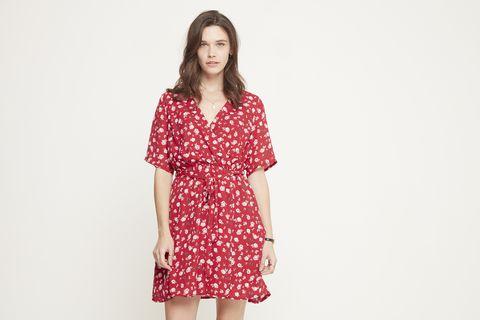 Clothing, Dress, Day dress, Red, Pattern, Fashion model, Sleeve, Pattern, Pink, Shoulder,