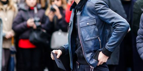 c670e278ec Street Style -Paris Fashion Week - Menswear Fall Winter 2018-2019   Day  Five. Edward BerthelotGetty Images. Every guy should have a leather jacket.