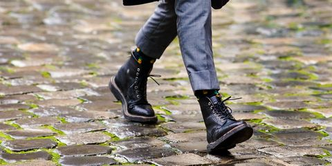 b8d6d31574b87 Street Style -Paris Fashion Week - Menswear Fall Winter 2018-2019   Day  Five. Edward Berthelot. Waterproof shoes—whether ...