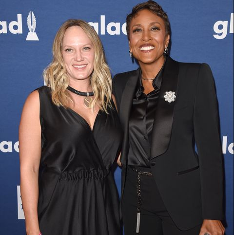 new york, ny   may 05  robin roberts and amber laign attend the 29th annual glaad media awards at the hilton midtown on may 5, 2018 in new york city  photo by j merrittgetty images for glaad