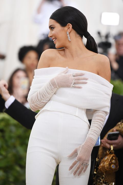 7784e5bec63 Kendall Jenner in Off-White White Jumpsuit at 2018 Met Gala ...