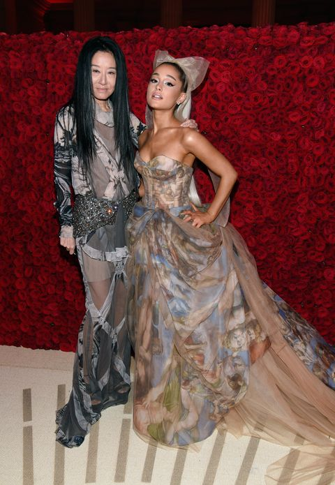 new york, ny   may 07 vera wang and ariana grande attend the heavenly bodies fashion  the catholic imagination costume institute gala at the metropolitan museum of art on may 7, 2018 in new york city  photo by kevin mazurmg18getty images for the met museumvogue