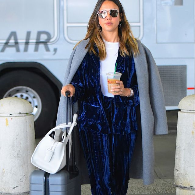 new york, ny   may 07  jessica alba seen out in jfk airport in queens on  may 7, 2018 in new york city  photo by robert kamaugc images