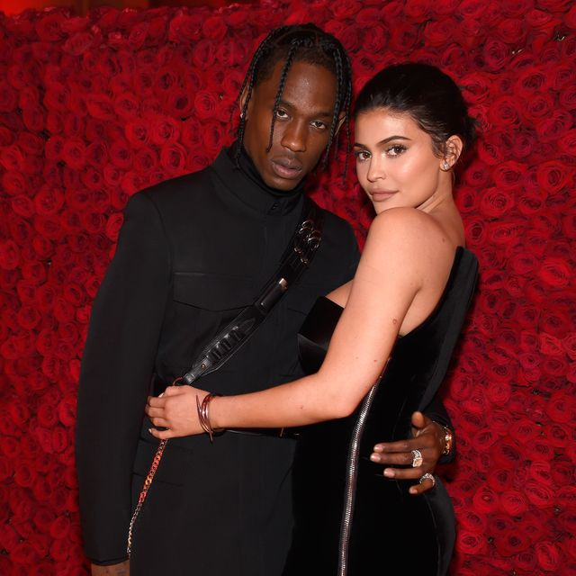 new york, ny   may 07  travis scott l and kylie jenner attend the heavenly bodies fashion  the catholic imagination costume institute gala at the metropolitan museum of art on may 7, 2018 in new york city  photo by kevin mazurmg18getty images for the met museumvogue