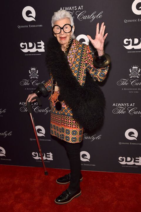 new york, ny   may 08  iris apfel atttends the always at the carlyle premiere on may 8, 2018 in new york city  photo by bryan beddergetty images for always at the carlyle