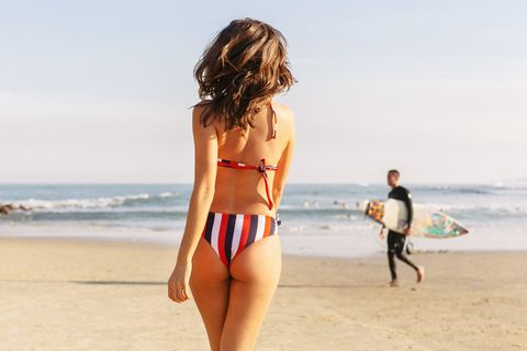 People on beach, Bikini, Beach, Clothing, Vacation, Swimwear, Undergarment, Summer, Fun, Surfboard,