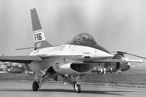 american f16 military plane at the paris air show june 8, 1975, france photo by gilbert uzangamma rapho via getty images