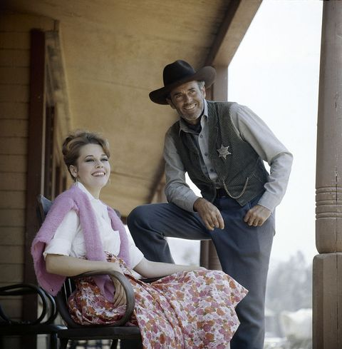 american actress jane fonda with her father henry fonda 1905   1982 on the set of henrys television show, the deputy, circa 1960  photo by allan grantthe life picture collection via getty images