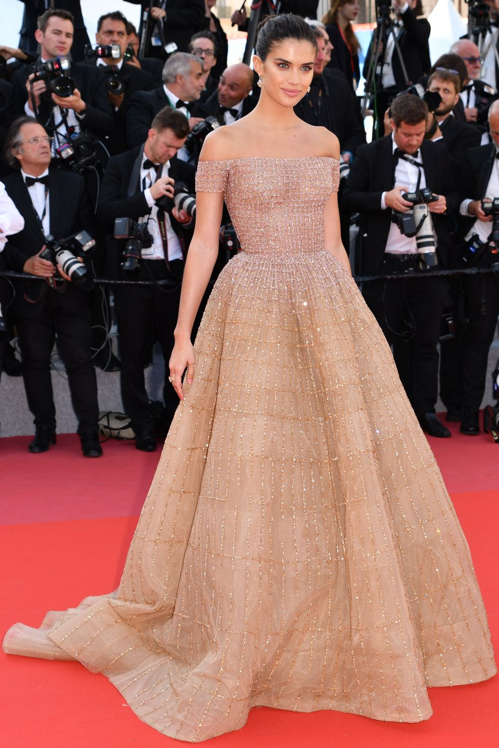 sara sampaio in a princess ellie saab dress at the cannes film festival