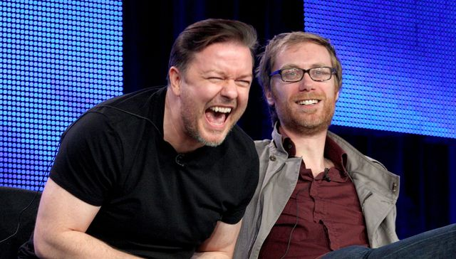 pasadena, ca   january 14  executive producers ricky gervais l and stephen merchant of the ricky gervais show speak during the hbo portion of the 2010 television critics association press tour at the langham hotel on january 14, 2010 in pasadena, california  photo by frederick m browngetty images