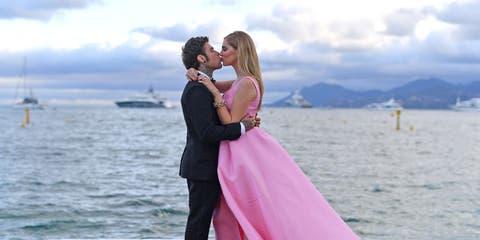Photograph, Pink, Gown, Dress, Bride, Wedding dress, Honeymoon, Bridal clothing, Wedding, Ceremony,