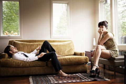 Couch, Furniture, Room, Living room, Leg, Interior design, Window, Sitting, Floor, Photography,