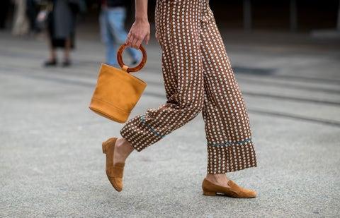 Street fashion, Clothing, Fashion, Footwear, Ankle, Yellow, Orange, Brown, Leg, Human leg,
