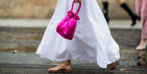 Pink, Dress, Fashion, Footwear, Street fashion, Hand, Shoe, Costume, Fashion accessory, Child,
