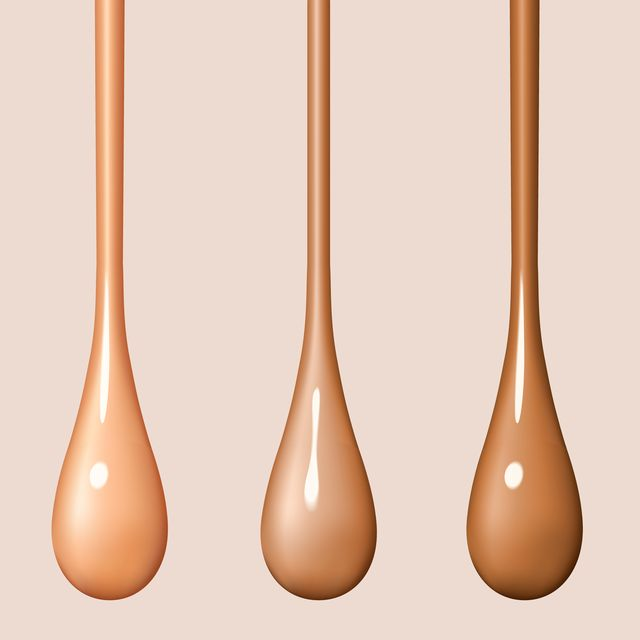 liquid foundation drops isolated on background streams of drops flow creamy texture of droplets design elements of advertising of cosmetics vector realistic 3d illustration