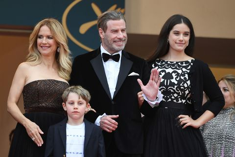 us actor john travolta 2ndr, his wife us actress kelly preston l and their children ella bleu travolta r and benjamin travolta  pose as they arrive on may 15, 2018 for the screening of the film solo  a star wars story at the 71st edition of the cannes film festival in cannes, southern france photo by loic venance  afp        photo credit should read loic venanceafp via getty images