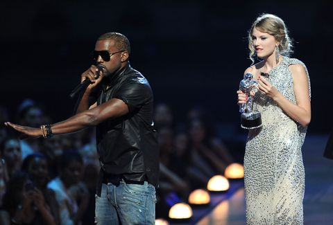 new york   september 13  kanye west takes the microphone from taylor swift and speaks onstage during the 2009 mtv video music awards at radio city music hall on september 13, 2009 in new york city  photo by kevin mazurwireimage