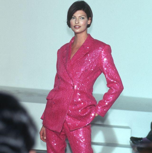 Clothing, Pink, Fashion, Fashion model, Outerwear, Magenta, Formal wear, Pajamas, Material property, Textile,