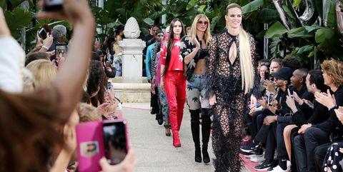 Fashion, People, Runway, Event, Street fashion, Pink, Fashion show, Fun, Crowd, Spring,
