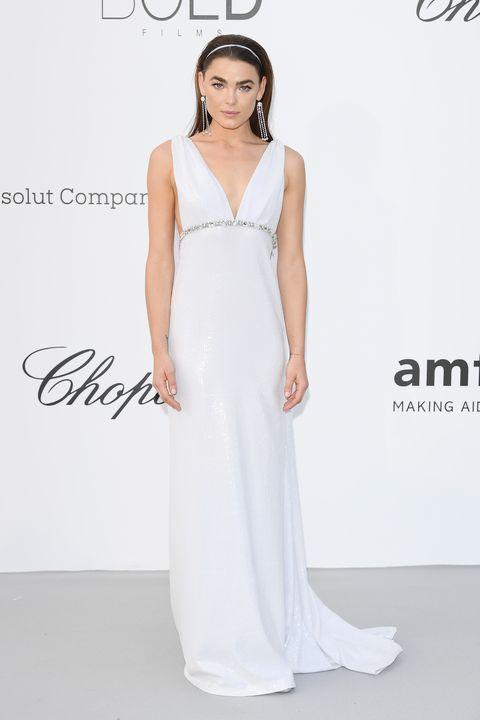 Clothing, Dress, Fashion model, Gown, White, Shoulder, Bridal party dress, Neck, Fashion, A-line,
