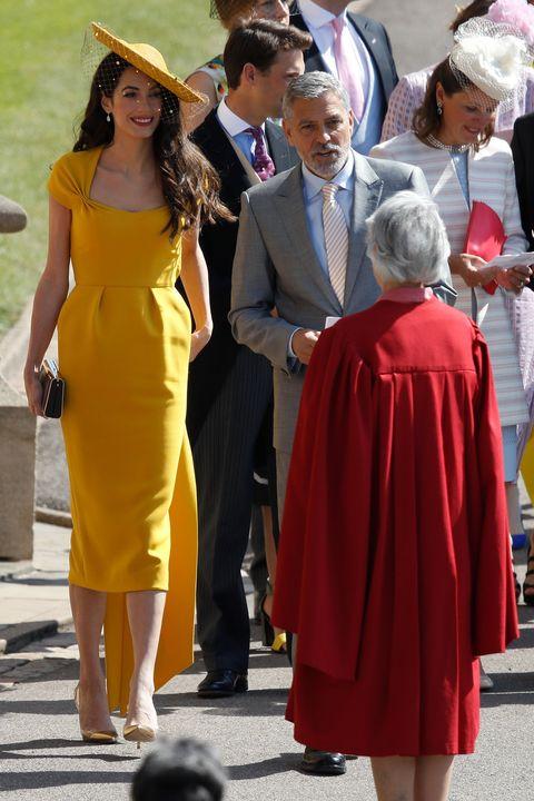 Amal Clooney Royal Wedding.Amal Clooney Wearing Yellow Stella Mccartney Dress To Royal Wedding