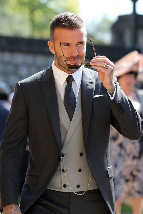 windsor, united kingdom   may 19  david beckham arrives at st georges chapel at windsor castle before the wedding of prince harry to meghan markle on may 19, 2018 in windsor, england photo by gareth fuller   wpa poolgetty images