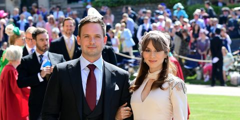 Patrick J Adams and wife Troian Bellisario at the royal wedding