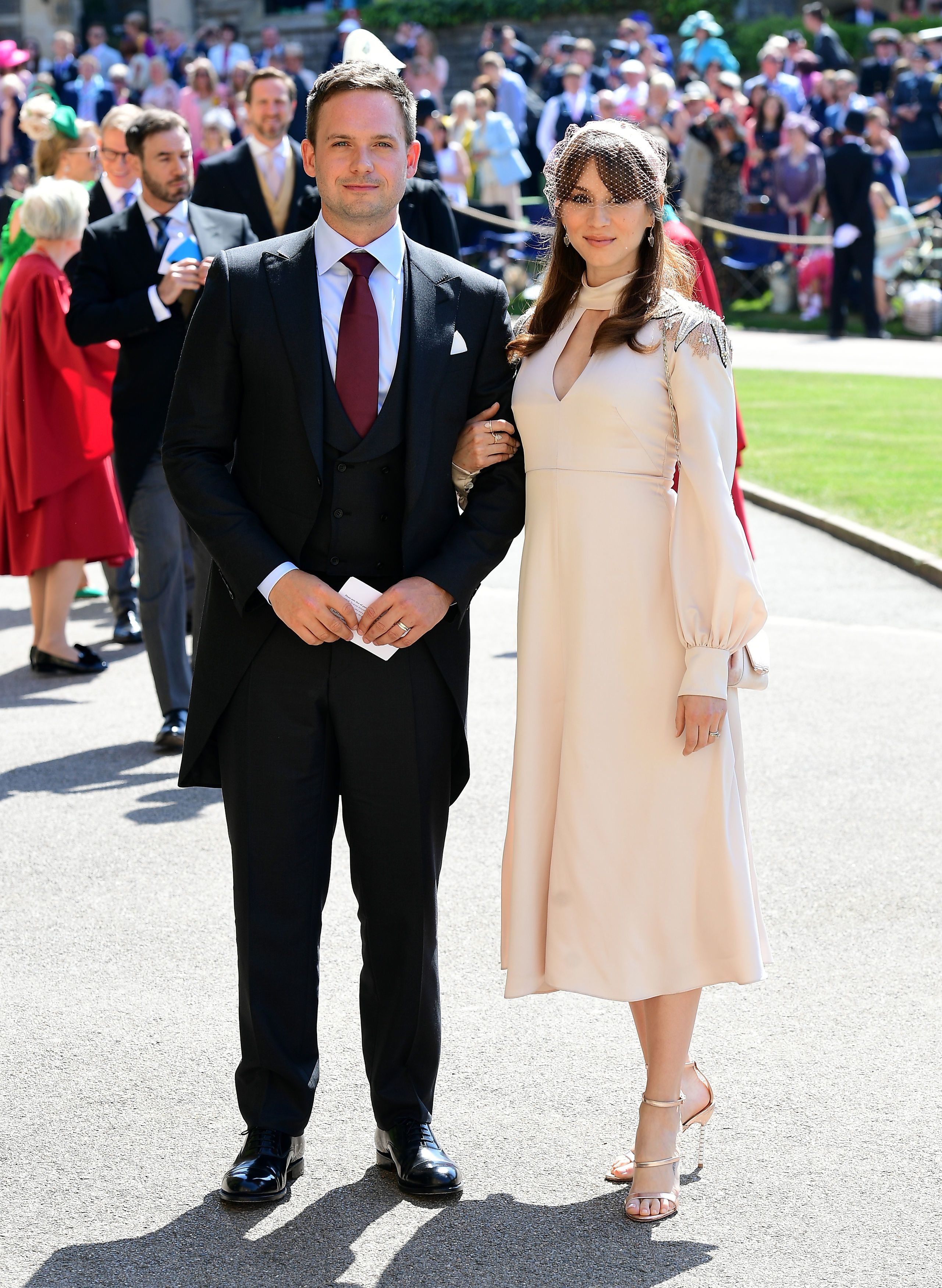 Patrick J Adams and wife Troian Bellisario at the royal wedding