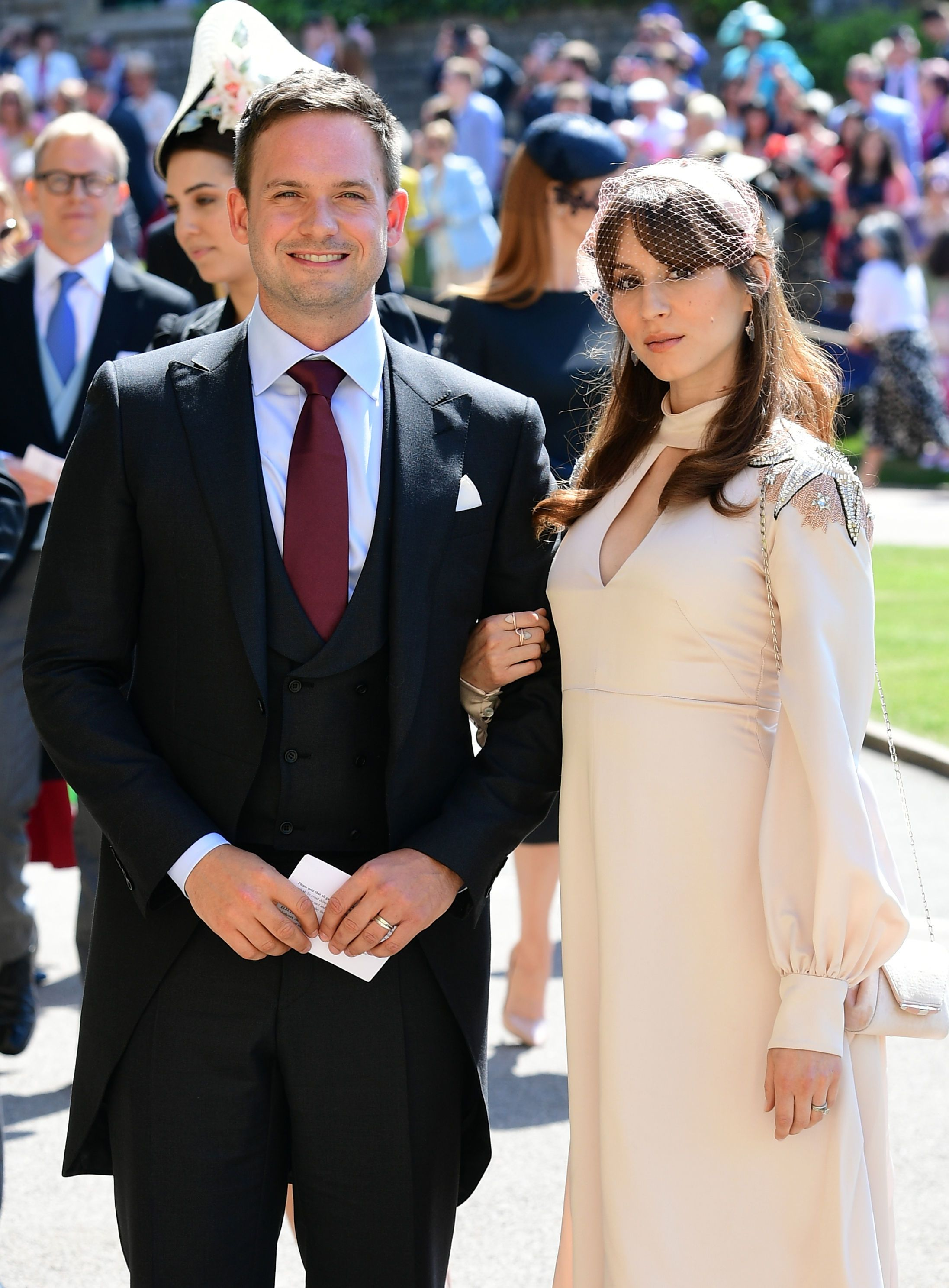 suits cast members patrick j adams and sarah raffety arrive at royal wedding suits cast members patrick j adams and