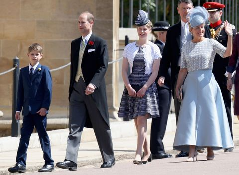britains prince edward, earl of wessex, 2l and his wife britains sophie, countess of wessex, r arrive with their children britains lady louise windsor 2l and james, viscount severn for the wedding ceremony of britains prince harry, duke of sussex and us actress meghan markle at st georges chapel, windsor castle, in windsor, on may 19, 2018 photo by chris jackson  pool  afp        photo credit should read chris jacksonafp via getty images