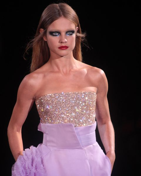 Dress, Fashion model, Clothing, Fashion, Cocktail dress, Gown, Strapless dress, Beauty, Pink, Haute couture,