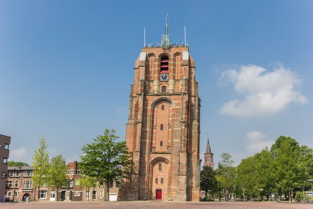 leaning tower oldehove in the center of leeuwarden, netherlands