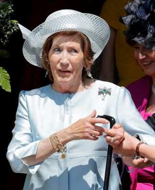 lady celia vestey pictured at prince harry and meghan markle's wedding