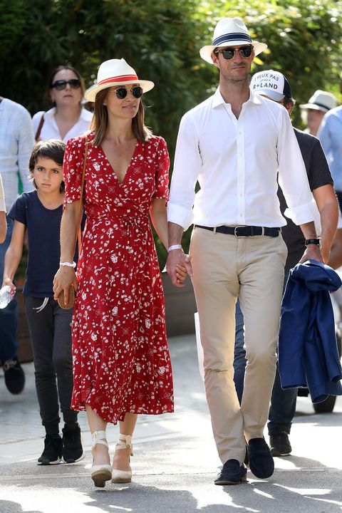 paris, france   may 27  pippa middleton and her husband james matthews are seen at the french open at roland garros on may 27, 2018 in paris, france  photo by bertrand rindoff petroff pierre suu getty images