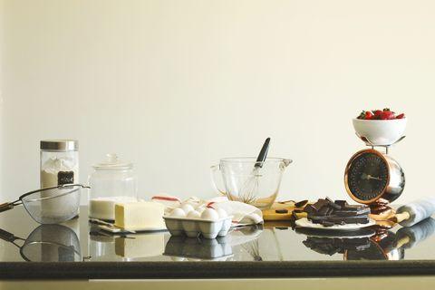 Baking ingredients for making chocolate cake.