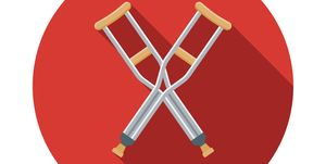 Crutches Flat Design Emergency Services Icon