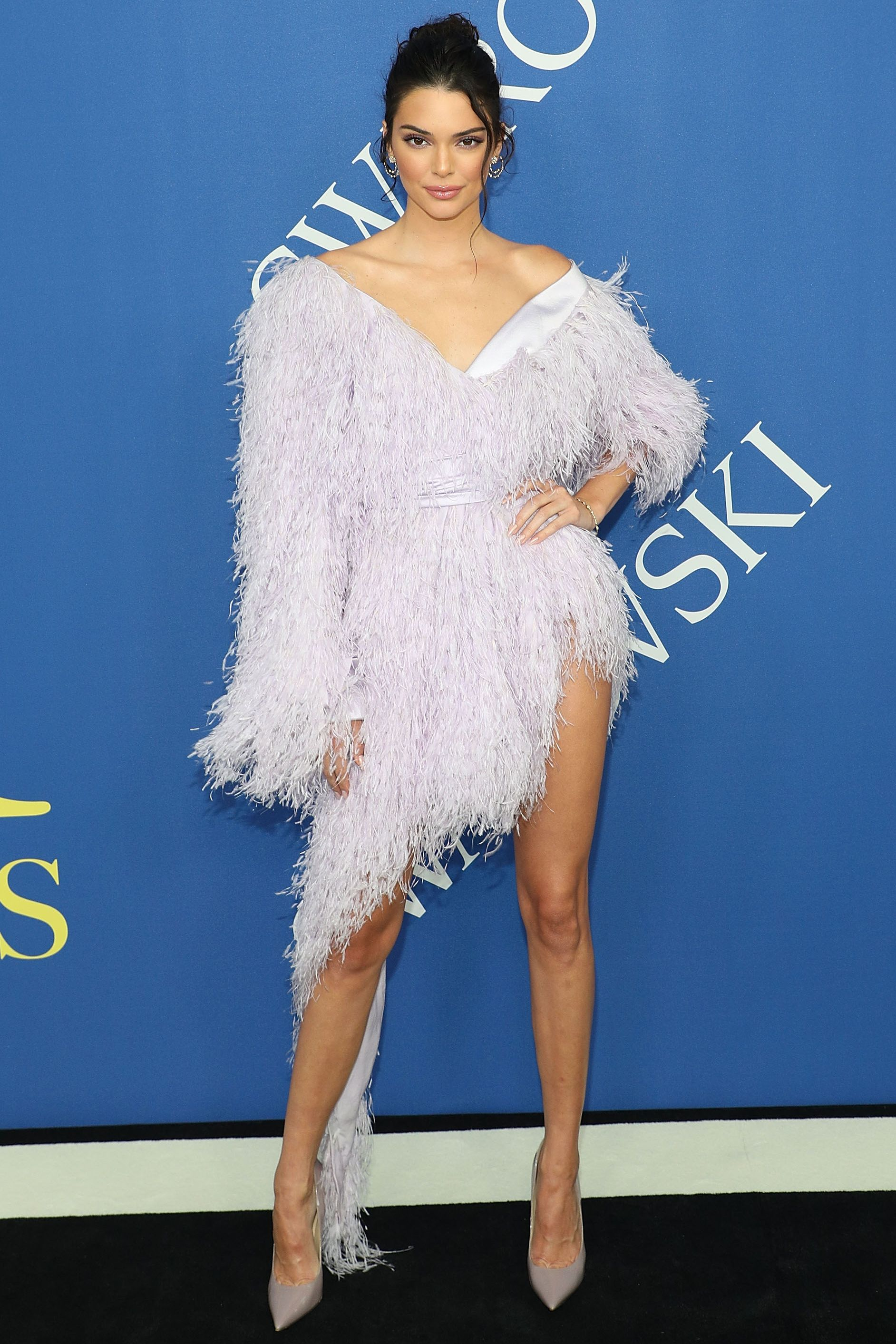 kendall jenner feather dress 2018 cfdas
