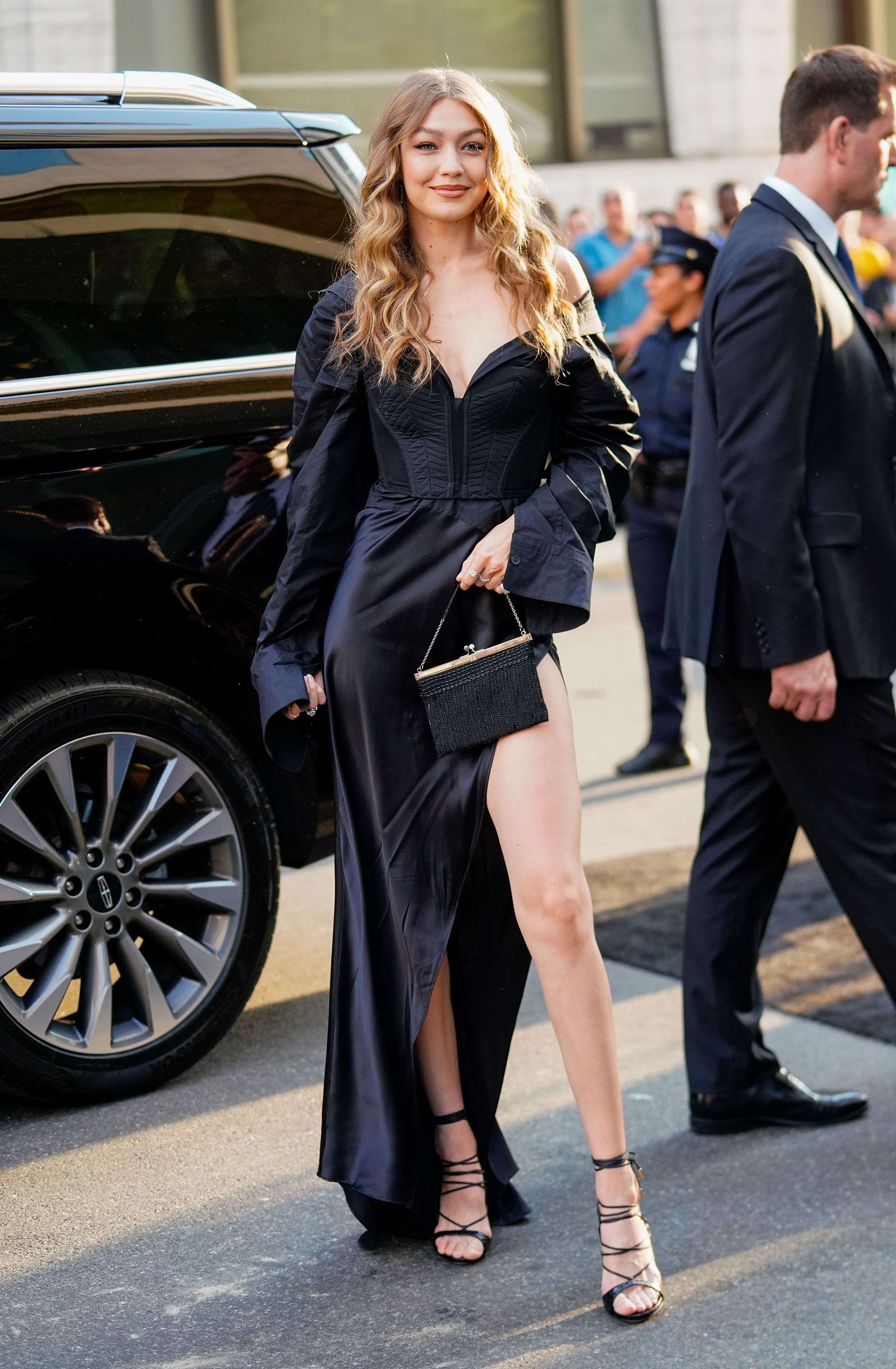 June 5, 2018 Hadid dressed in her red carpet best for Ocean's 8 world premiere in NYC. She wore a Vera Wang dress, DSquared2 heels, and Lorraine Schwartz jewelry.