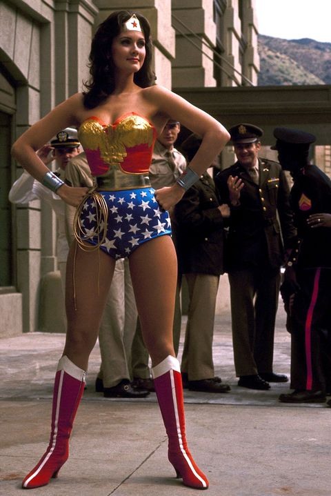 american actress lynda carter stars as the titular superhero in the television series wonder woman, circa 1975 photo by silver screen collectiongetty images