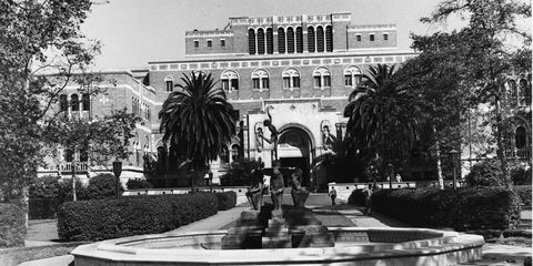 doheny library and fountain on trousdale parkway within the university of southern california usc campus, los angeles, california, early to mid twentieth century photo by dick whittington studiocorbis via getty images