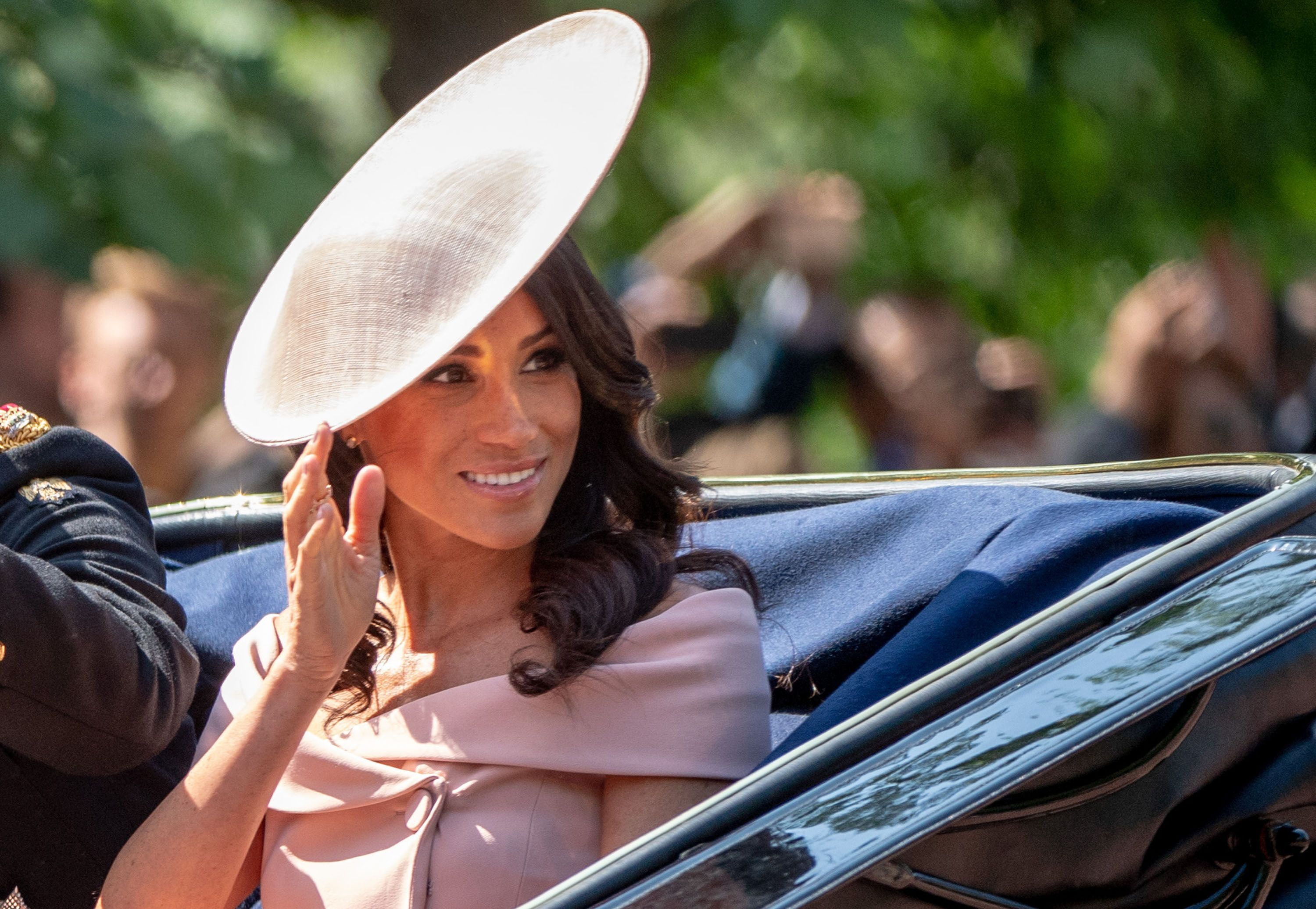 b7c09524589 Meghan Markle Just Arrived at Trooping the Colour in a Gorgeous  Off-the-Shoulder Blush Dress
