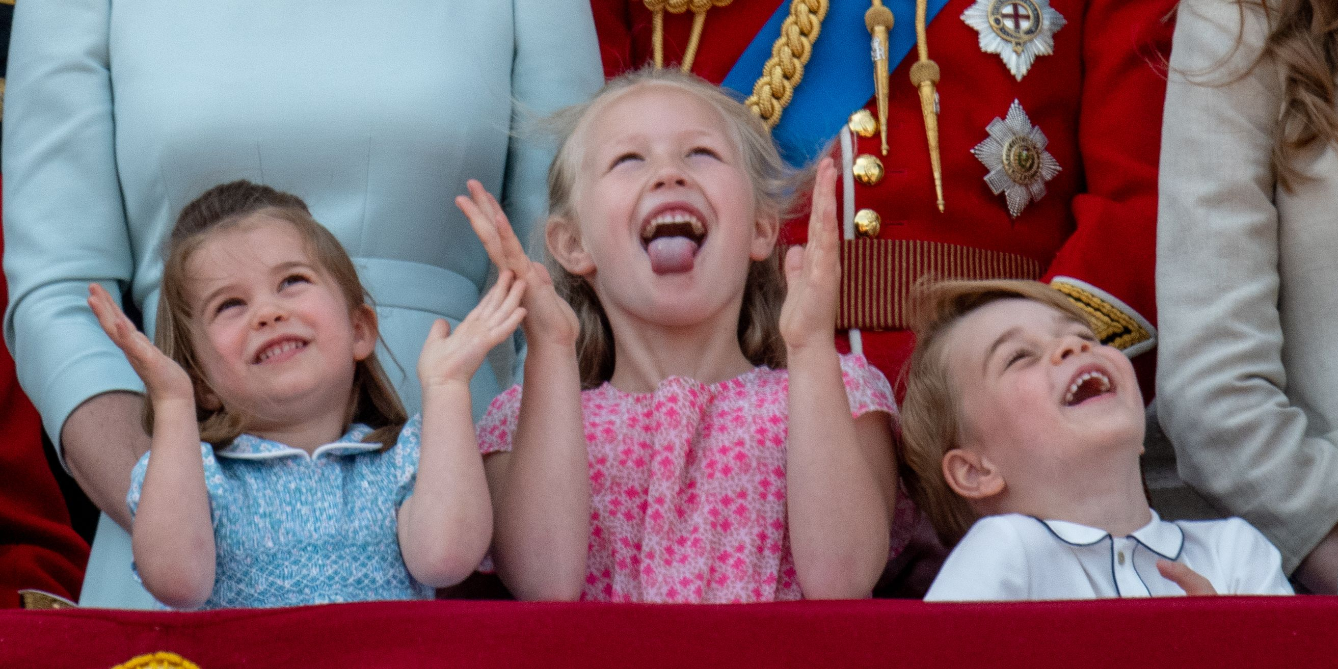 Princess Charlotte and Prince George on the balcony at Buckingham Palace