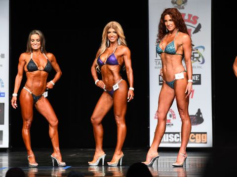 Fitness and figure competition, Bodybuilding, Bikini, Muscle, Physical fitness, Clothing, Competition event, Swimwear, Competition, Bodybuilder,