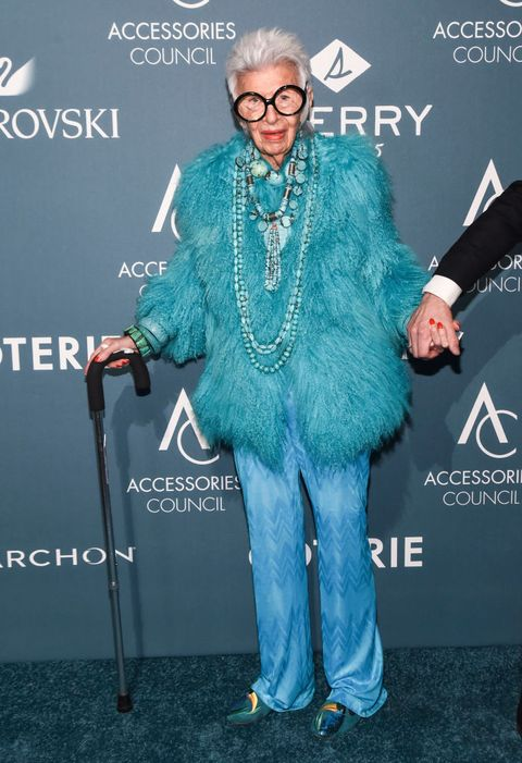 new york, ny   june 11  iris apfel attends the 22nd annual accessories council ace awards at cipriani 42nd street on june 11, 2018 in new york city  photo by daniel zuchnikwireimage