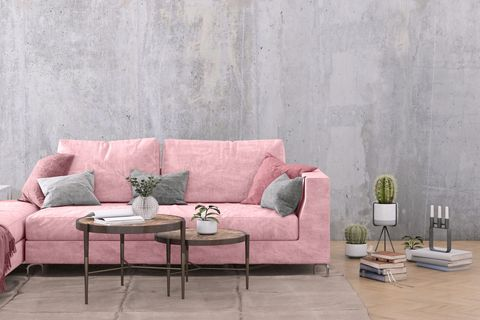 Furniture, Pink, Couch, Living room, Room, Wall, Interior design, Coffee table, Table, Sofa bed,