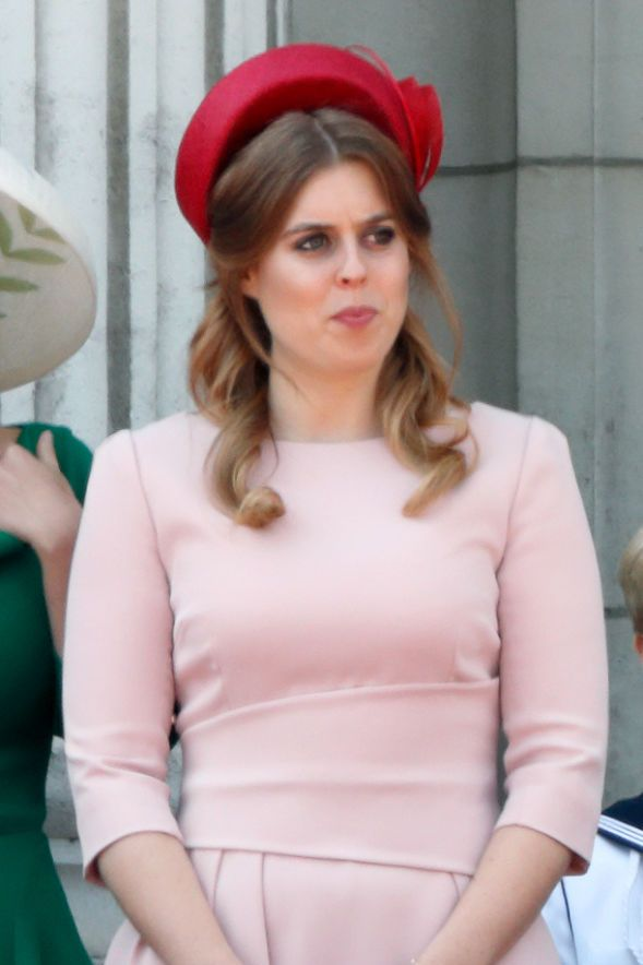 Princess Beatrice looked elegant in this light pink dress and red wicker hat at Trooping the Colour 2018.