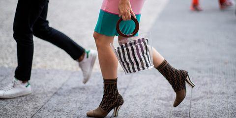 Human leg, Green, Footwear, Leg, Street fashion, Pink, Ankle, Joint, Knee, Snapshot,
