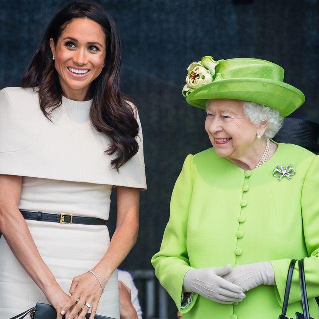 widness, england   june 14  meghan, duchess of sussex and queen elizabeth ii open the new mersey gateway bridge on june 14, 2018 in widness, england  photo by samir husseinsamir husseinwireimage